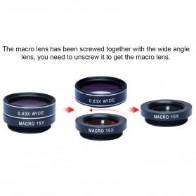 APEXEL 5 in 1 Lensa CPL Fisheye Macro Telephoto Wide Angle Lens - APL-DG5N - Black - 7
