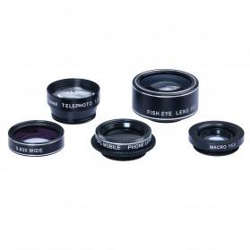 APEXEL 5 in 1 Lensa CPL Fisheye Macro Telephoto Wide Angle Lens - APL-DG5N - Black - 8