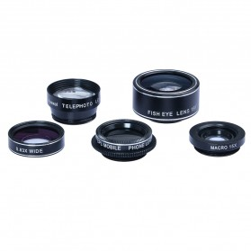 APEXEL 5 in 1 Lensa CPL Fisheye Macro Telephoto Wide Angle Lens - APL-DG5H - Black - 8