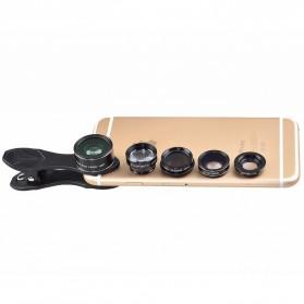 APEXEL 5 in 1 Lensa CPL Fisheye Macro Telephoto Wide Angle Lens - APL-DG5N - Black - 10