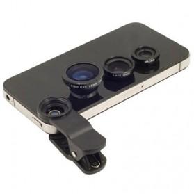 Lensa Smartphone 3 in 1 Fisheye Macro Wide Angle Lens - Black