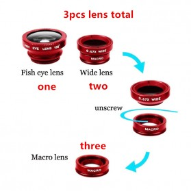 Lensa Smartphone 3 in 1 Fisheye Macro Wide Angle Lens - Black - 2