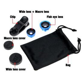 Lensa Smartphone 3 in 1 Fisheye Macro Wide Angle Lens - Black - 4