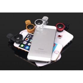 Lensa Smartphone 3 in 1 Fisheye Macro Wide Angle Lens - Black - 7