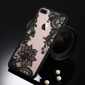 Retro Vintage Lace Pattern TPU Softcase for iPhone 7/8 - Black - 2