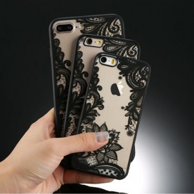 Retro Vintage Lace Pattern TPU Softcase for iPhone 7/8 - Black - 4