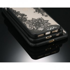 Retro Vintage Lace Pattern TPU Softcase for iPhone 7/8 - Black - 5