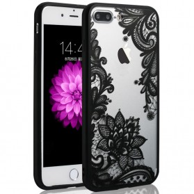 Retro Vintage Lace Pattern TPU Softcase for iPhone 7 Plus / 8 Plus - Black