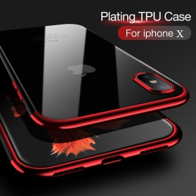 CAFELE Softcase Transparant for iPhone X - Red - 4