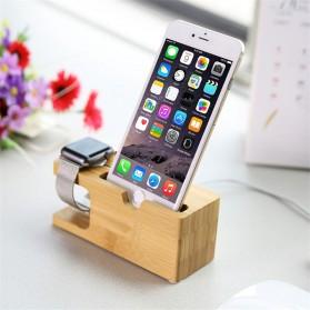 Bamboo Smartphone Stand Holder & Apple Watch Dock - 2