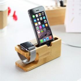 Bamboo Smartphone Stand Holder & Apple Watch Dock - 3