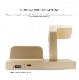 Syrinx Charging Docking for Apple Watch + iPhone Lightning  - RF07608 - Black - 3