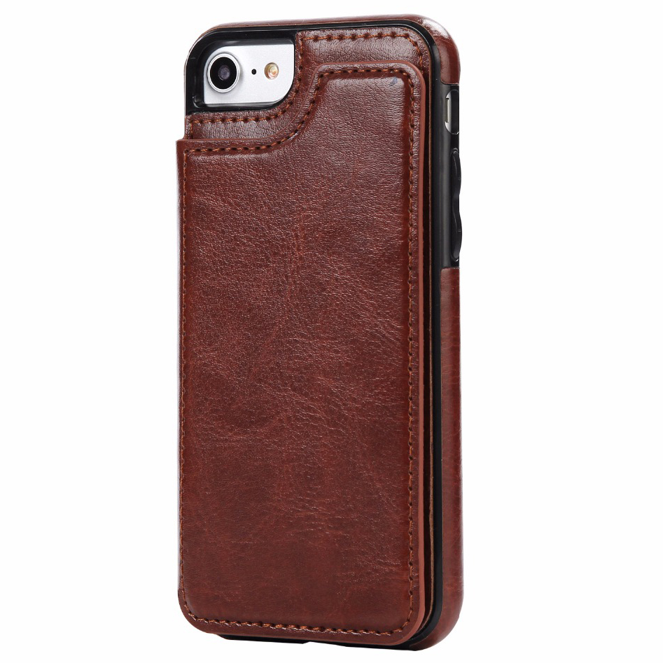 leather smartphone case with mini wallet for iphone 7 8 brown. Black Bedroom Furniture Sets. Home Design Ideas