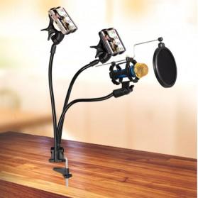 Fleksibel Stand Mikrofon & 2 x Lazypod Smartphone Holder - KH-28 - Black - 2