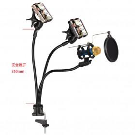 Fleksibel Stand Mikrofon & 2 x Lazypod Smartphone Holder - KH-28 - Black - 7