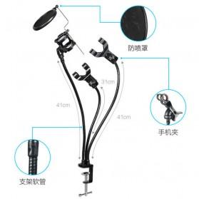 Fleksibel Stand Mikrofon BOP dan 2 x Lazypod Smartphone Holder Universal - Black - 5