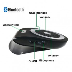 Bluetooth Handsfree Speaker Car Kit - Black - 9