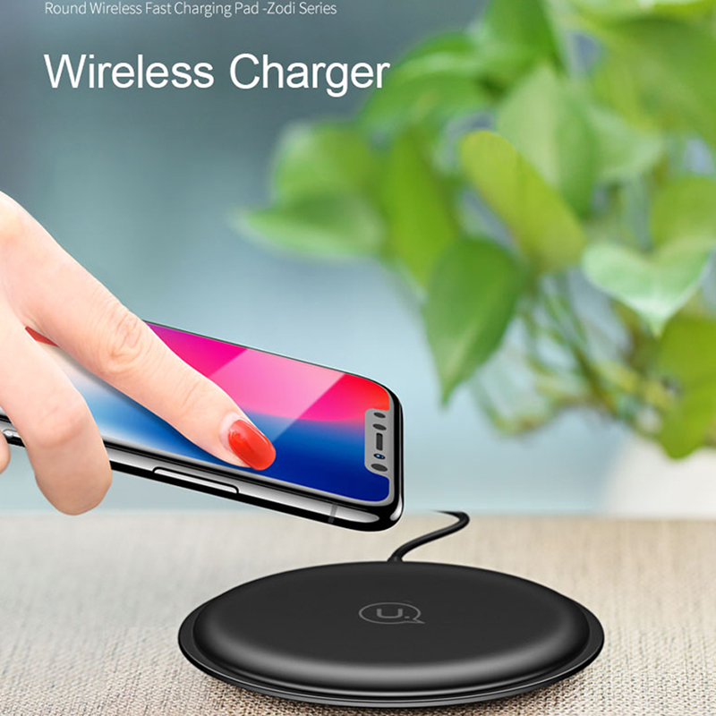 usams qi wireless charger fast charging 5v2a for smartphone black. Black Bedroom Furniture Sets. Home Design Ideas