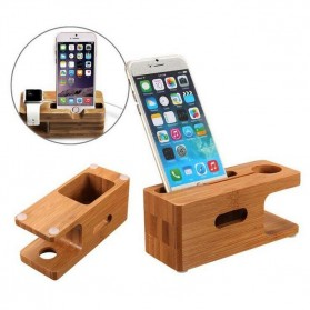 Creative Bamboo Smartphone Stand Holder & Apple Watch Dock - Brown