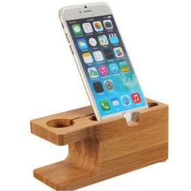 Creative Bamboo Smartphone Stand Holder & Apple Watch Dock - Brown - 6