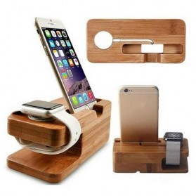 Creative Bamboo Smartphone Stand Holder & Apple Watch Dock - Brown - 7