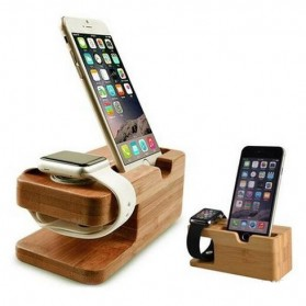 Creative Bamboo Smartphone Stand Holder & Apple Watch Dock - Brown - 8