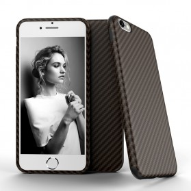 Anti Knock Carbon Fiber Softcase Protector for iPhone 7 Plus / 8 Plus - Brown