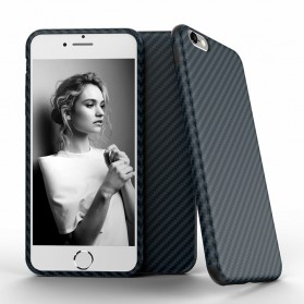 Anti Knock Carbon Fiber Softcase Protector for iPhone 7 Plus / 8 Plus - Navy Blue
