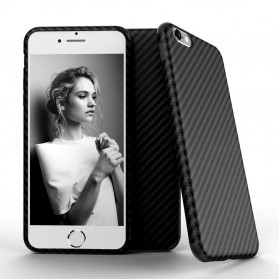 Anti Knock Carbon Fiber Softcase Protector for iPhone 7/8 - Black