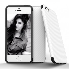 Anti Knock Carbon Fiber Softcase Protector for iPhone 7/8 - White