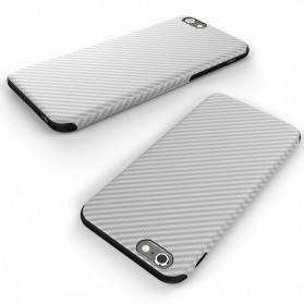 Anti Knock Carbon Fiber Softcase Protector for iPhone 7/8 - White - 4