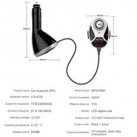 Bluetooth FM Transmitters Handsfree Mobil 3.5mm 2 USB Port 2.1A - BT12 - Black - 6