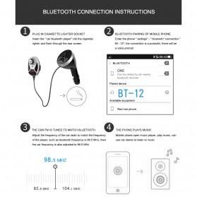 Bluetooth FM Transmitters Handsfree Mobil 3.5mm 2 USB Port 2.1A - BT12 - Black - 10