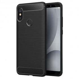 Silicone Armor Bumper Softcase Carbon Fiber for Xiaomi Redmi Note 5 Pro - Black