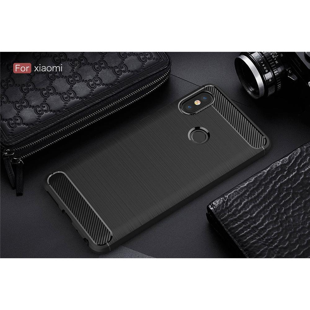 Silicone Armor Bumper Softcase Carbon Fiber For Xiaomi Redmi Note 5 Case Pro Kickstand Series Black 10