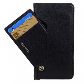 Smartphone Casing, Case, Hardcase, Softcase - Luxury Leather Wallet Case with Card Holder for iPhone X - Black
