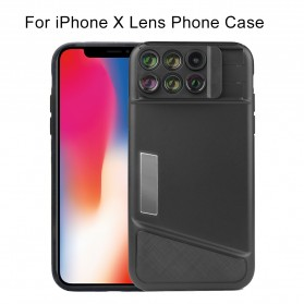 Lens Case 6 in 1 Fisheye Macro Wide Angle for iPhone X - Black