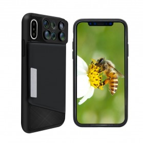 Lens Case 6 in 1 Fisheye Macro Wide Angle for iPhone X - Black - 3