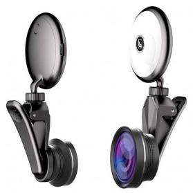Selfie Spotlight LED Macro Fisheye Wide Angle Lens - RK19S - Black