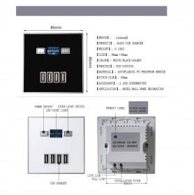 Stop Kontak Charger Smartphone Dinding 4 USB Port Quick Charge 220V 4A - SR-GL-USB-007 - White - 3