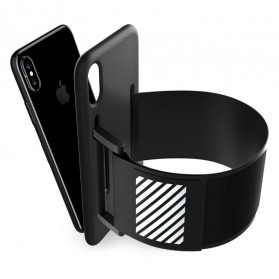 Sports Silicone Armband Case for iPhone X - Black - 3