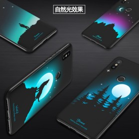 TPU Case Luminous Glow In The Dark for Xiaomi Mi 8 SE - Model Wolves - Black - 3