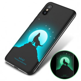 TPU Case Luminous Glow In The Dark for iPhone X - Model Wolves - Black