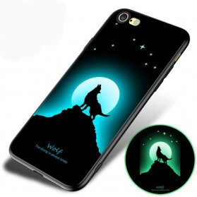 TPU Case Luminous Glow In The Dark for iPhone 7/8 - Model Wolves - Black