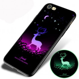 TPU Case Luminous Glow In The Dark for iPhone 7/8 - Model Deer - Black