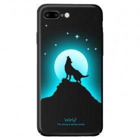 TPU Case Luminous Glow In The Dark for iPhone 7 Plus / 8 Plus - Model Wolves - Black