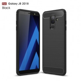 Carbon Fiber TPU Softcase for Samsung Galaxy J8 2018 - Black - 1