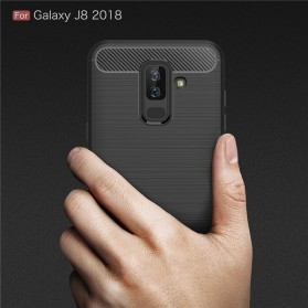 Carbon Fiber TPU Softcase for Samsung Galaxy J8 2018 - Black - 6