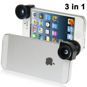 Photo Lens Kit 3 in 1 (180 Degree Fisheye Lens + Super Wide Lens + Marco Lens) for iPhone 5 - Black