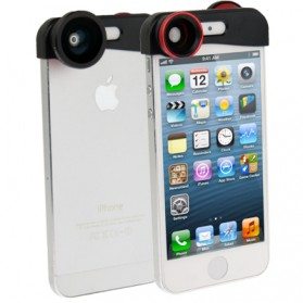 Fisheye Wide Angle Lens 180 Degree + Detachable Wide and Macro Lens for iPhone 5/5s/SE - Black
